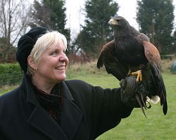 Constance and her new freind Laura, a Harris Hawk.
