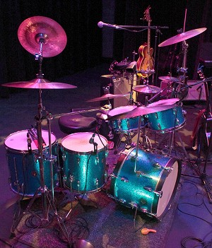 The 1960s blue sparkle Ludwig Downbeat kit.